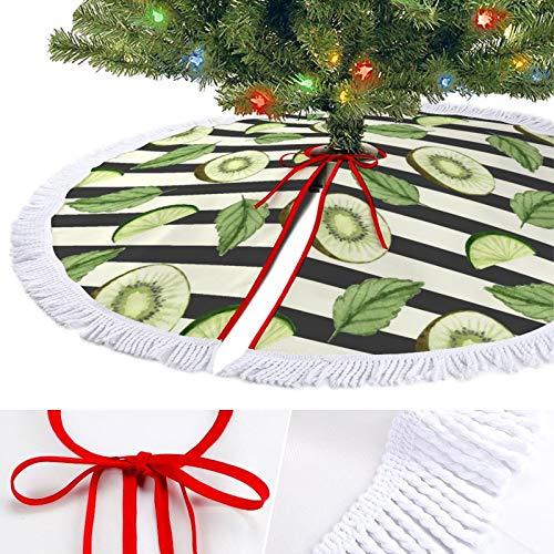 Falda de árbol de Navidad, decoración de falda de árbol, Kiwi fruta planta, patrón de fruta, decoración de árbol grande, decoración de fiesta, decoración de Navidad, decoraciones de Navidad