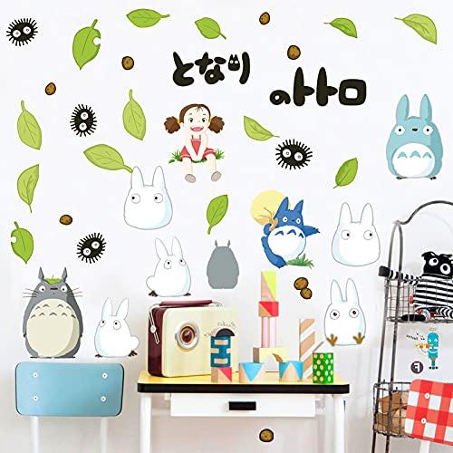 Etiqueta De La Pared Mi Vecino Totoro ExtraíBle Dibujos Animados HabitacióN De Los NiñOs Zapatero DecoracióN De La HabitacióN del NiñO Animal Hoja Verde Mi Vecino Totoro