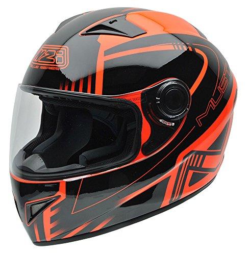 NZI 150196G677 Must Multi Xlogo Casco de Moto, Color Negro y Naranja Flúor, Talla 58-59 (L)
