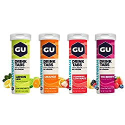 four containers of gu hydration drink tabs