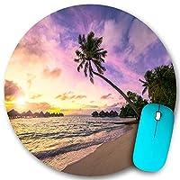 PATINISA ラウンドマウスパッド、ヤシの木と美しいビーチのある熱帯の島の壮大なカラフルな夕日、PC ノートパソコン オフィス用 円形 デスクマット、ズされたゲーミングマウスパッド 滑り止め 耐久性が 200mmx200mm