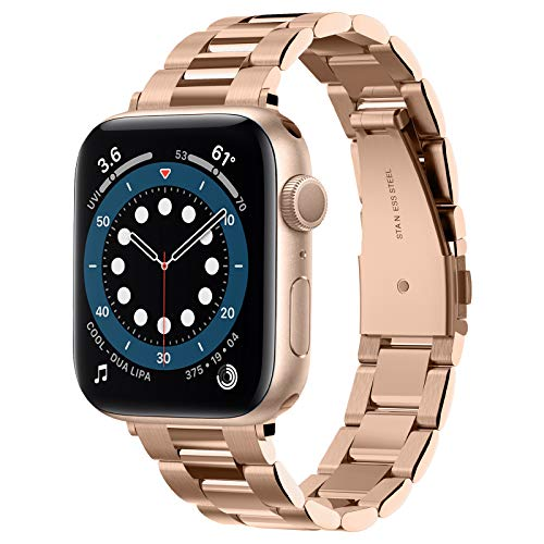 Spigen Modern Fit Inoxidable Correa Compatible con Apple Watch 7 6 SE 5 4 3 2 1 y Apple Watch Correa 41mm 40mm 38mm - Oro rosa