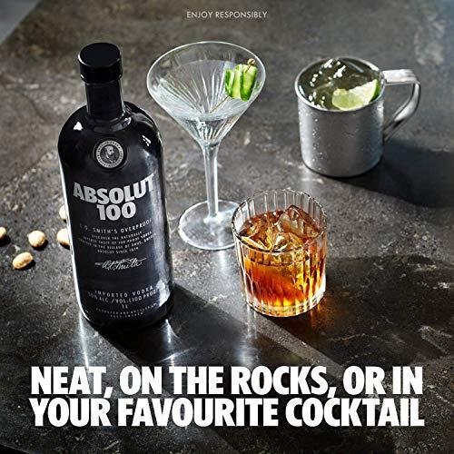 Absolut 100 / 50% Vol. Edel Wodka in eleganter schwarzer Flasche / Luxuriöses Geschmackserlebnis / 1 x 1 L - 2