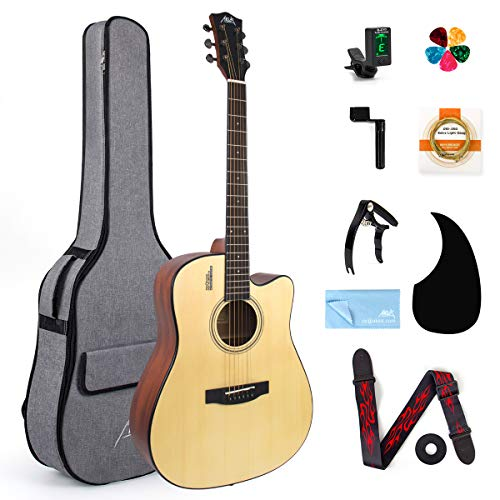AKLOT Acoustic Guitar Full Size 41 inch Spruce Cutaway Guitar Bundle for Students Kids Beginners W/Gig Bag Tuner Strap Picks Strings Pickguard Guitar Capo String Winder