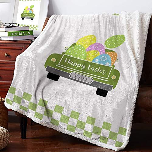 AEMAPE Manta de Tiro - Happy Easter Lucky Egg Camión Verde Buffalo Check Plaid Mullido Manta de Microfibra súper Suave Manta difusa para sofá Cama Sofá 60 'x50'