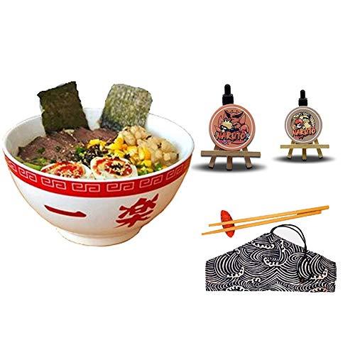 QININQ Ramen Schüsseln aus Keramik, Naruto-Reisschüssel mit passender Schüsselmatte und Essstäbchen sowie Frischhaltedeckel für asiatische Nudeln et Salat Udon Soba Pho