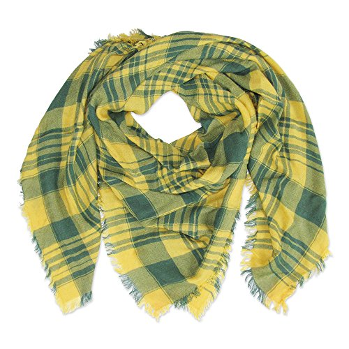 Tickled Pink Women's Square Plaid Scarf, Green/Gold, 40 x 40