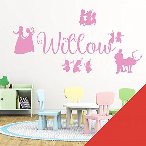 Wall Designer Nom personnalisé Filles Art Mural Autocollant – inspirée de Disney La Reine des neiges, Elsa, Anna, Olaf, Kristoff, Tomato, Medium (580x150mm)