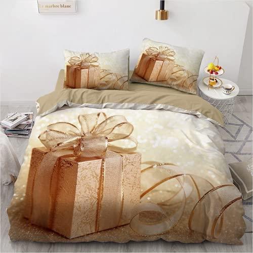 QWAS Juego de ropa de cama navideña, 3 piezas: ropa de cama, funda nórdica juvenil (L3,220 x 240 cm + 50 x 75 cm x 2)