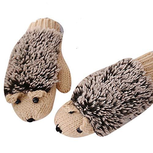 Women Girl Winter Knitted Gloves Cute Cartoon Hedgehog Gloves Thicken Mittens