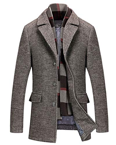 CHARTOU Men's Classic Mid-Length Quilted Wool Car Coat with Detachable Scarf (Khaki, X-Large)