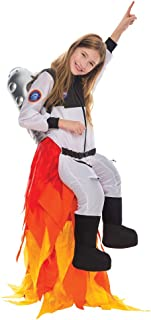 Kids Flying Astronaut Suit Halloween Dress Up Roleplay Costume with Flame Pants and Jet Pack