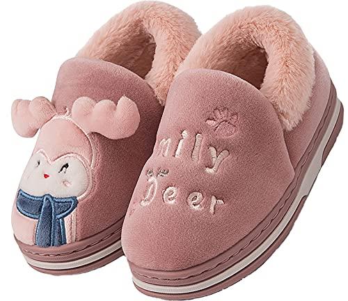 Lvptsh Zapatillas de casa Invierno para Niñas Niños Pantuflas de Cálido Antideslizante Peluche Forradas Slippers,Red,EU22/23