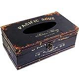 (Black Pacific Soul) Retro Vintage Rustic Wood Tissue Holder Box Cover Facial Tissue Paper Dispenser Anchor Design Tissue Holder Home Decor