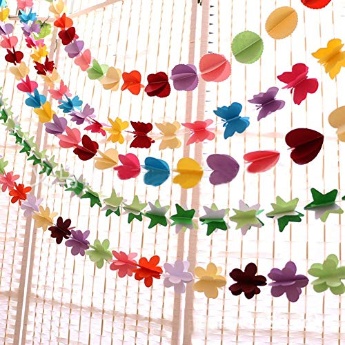 LIZHOUMIL 3D Colorful Paper Star Garland,Hanging Banners for Wedding Birthday Party Backdrop Decoration,Star Shaped Decorative Bunting,6 Feet/1.8m