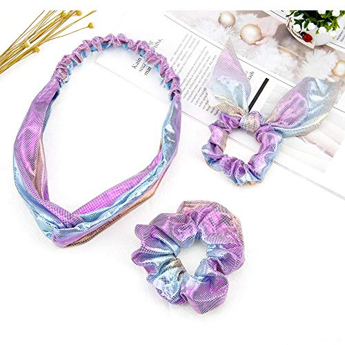 Uni-Fine 3-Styles Hair Scrunchies for Girls,Shiny Metallic Color Scrunchies, Bow Hair Rope Accessories+Headbands Knotted Hair Bands, Mermaid Hair Elastics Scrunchies Hair Ties Bands for Women Girls