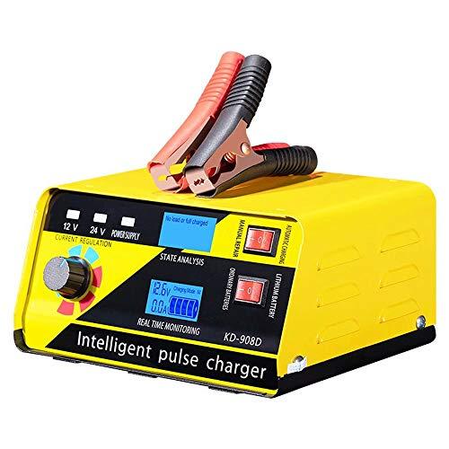 CUIJU Cargador de batería 12V / 24V automotriz Inteligente mantenedor de batería para Coche, camión, Motocicleta, cortacésped (Amarillo)