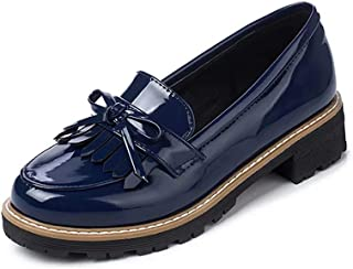KARKEIN Women's Patent Leather Slip On Shoes Tassel Low Heel Penny Loafers Bowknot Oxford Shoes