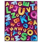 Koltose by Mash ABC wurfdecke, entzückende super-weichen extra Large Fluffy Alphabet Decke für Kleinkinder, Kinder, Baby, Jungen & mädchen, Fleece ABC Blanket (50 in x 60 in)