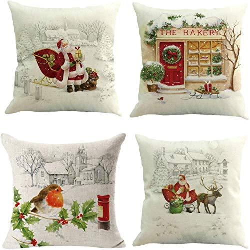 Juego de 4 fundas de almohada para decoración de Navidad, para el hogar, sofá, coche, 45,7 x 45,7 cm