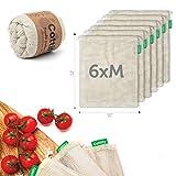 6 Sacs Réutilisables en Coton Biologique - Paquet de 6 Sacs/Double Couture, Léger avec Cordon   Sac pour Fruits et Légumes   Lavable   6 Sacs Taille M