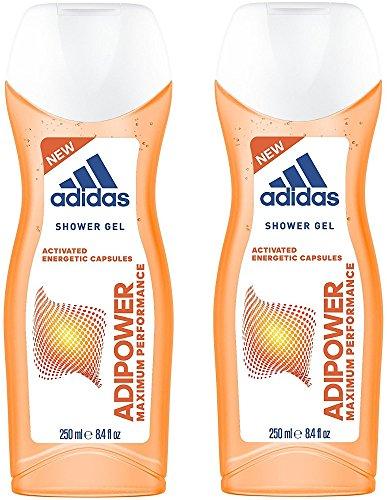 Adidas Adipower Douchegel voor dames, 3-in-1, activerende douchegel voor lichaam, haren en gezicht, pH-huidvriendelijk, 2 x 250 ml