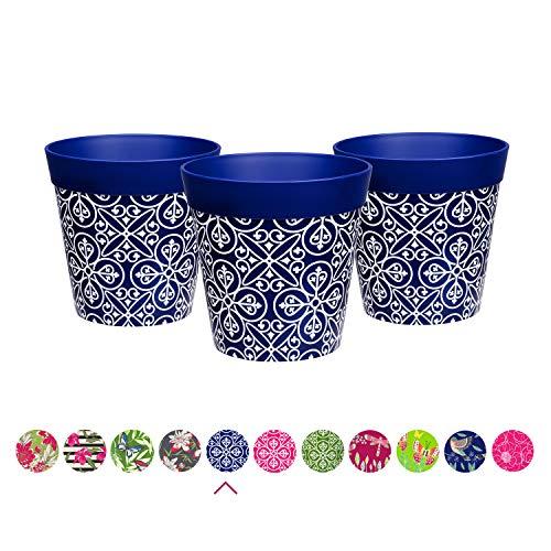 Hum Flowerpots Plant Pots, set of 3 blue plastic Maroc Tile, colourful planters indoor/outdoor pots 15cm x 15cm (14 designs available)