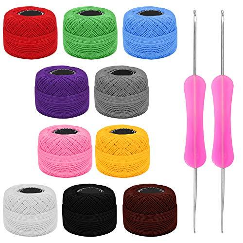 Kurtzy Hilo para Tejer a Crochet (10 Ovillos) Hilos Ganchillo con 2 Agujas de Ganchillo (1 mm y 2 mm) Cada Madeja Pesa 20g – Total de 1500 Metros de Hilos de Colores - Kit Crochet Surtido