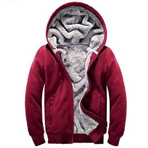 Yuyudou Heren Winterjack Warm Hooded Outwear Jas Fleece Sweatshirt Jumper Zwart/Rood/Grijs Jas met Rits en Zakken