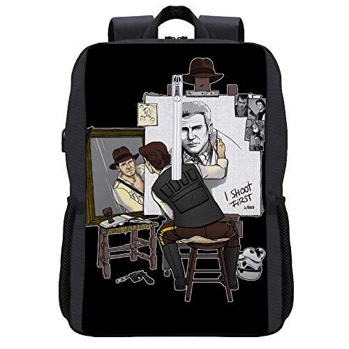Harrison Ford Triple Hero Rucksack Daypack Bookbag Laptop Schultasche mit USB-Ladeanschluss