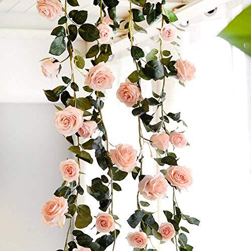 Zyurong 180 cm Blumengirlande Künstliche Blume Rosen Girlande für Hochzeit Deko Garten Haus (Rosa)