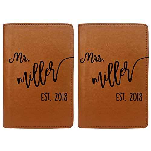 Mr. & Mrs. Personalized RFID Passport Holder Cover - Travel Gift - Set of Two