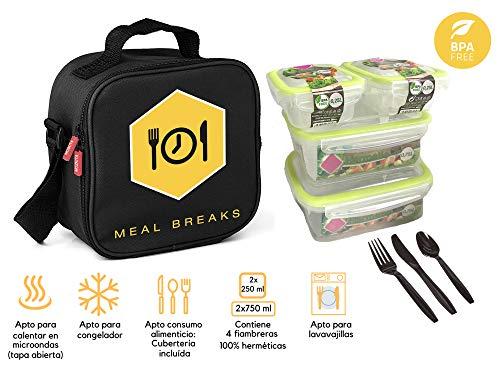 MOZKITA Sac de Repas Isotherme Léger   Lunch Box avec 4 Boites Alimentaires Hermetiques Incluses   Unisex   Spacieux   avec Bandoulière pour Le Transport   Matériau Extérieur Rigide   Noire