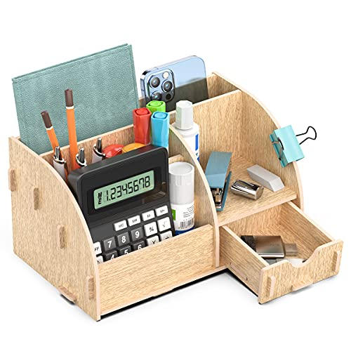Lesfit Organizador Escritorio de Madera con 5 Compartimentos y 1 Cajón, Soporte Suministros de Oficina, Mesa y Hogar 22.3x14,5x12.7cm