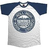 Rockoff Trade Ramones Bowery NYC Raglan Camiseta, Blanco, M para Hombre