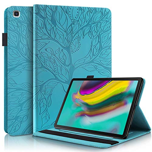 TTNAO Case Compatible with Samsung Galaxy Tab S5e SM T720/T725 10.5' 2019 Tablet,PU Leather Flip Wallet Cover Life Tree Pattern Lightweight Shell Card Slot Stand Anti-Scratch -Lake Blue