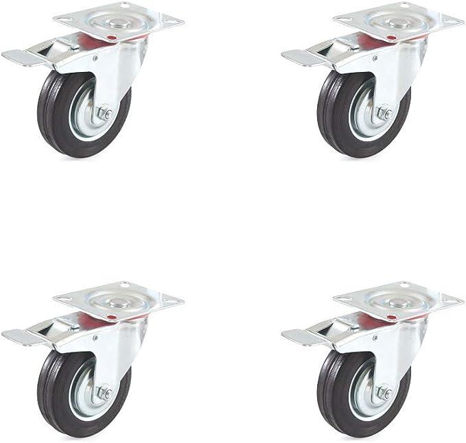 1 in 4 St/ücke Platte Rollen,Gummi Lenkrollen 360 Grad Gummi Lenkrolle SH008 Tragf/ähigkeit 13-28 kg Rollen f/ür M/öbelwagen Wagen