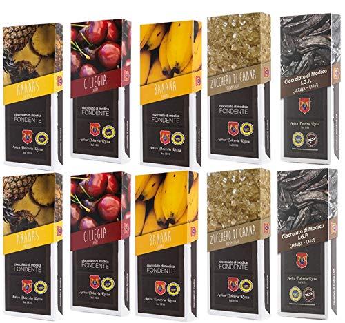 Sicilia Bedda - CIOCCOLATO DI MODICA IGP - 1 KG di Cioccolata di Modica SENZA GLUTINE - ANTICA DOLCERIA RIZZA (Carrubba/Ciliegia/Zucchero di Canna/Ananas/Banana)