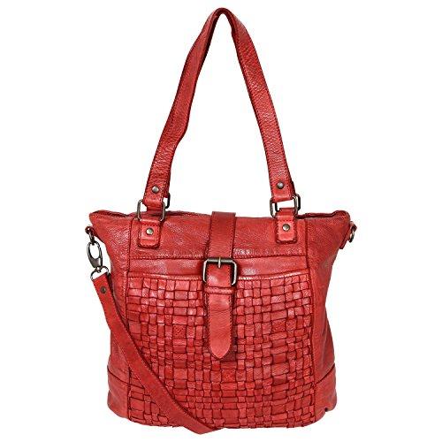 Bear-Design Shopper tas met schouderriem CL32650 gevlochten, gewassen leer