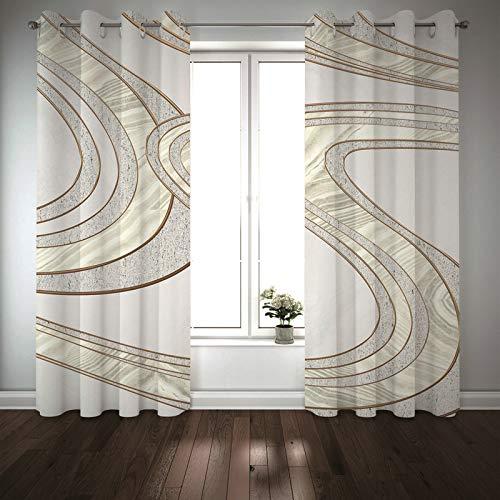Kihomedy Juego de 2 cortinas opacas con rayas flexibles, color gris 3D, 214 x 138 cm (ancho x alto)