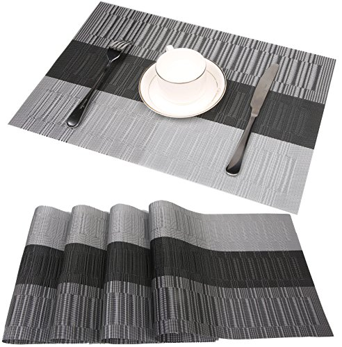famibay Bamboo PVC Weave Placemats Non-Slip Kitchen Table Mats Set of 4-30x45 cm (Color 6)