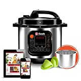 Geek Robocook Automatic 5 Litre Electric Pressure Cooker with 11 in 1 Function, Feather Touch Preset Menu (Stainless Steel Pot, Black)