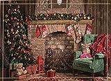 SRJ2018 Árbol de Navidad Decorado con Adornos navideños y Chimenea con Calcetines de Regalo Súper Absorbente, tapete Antideslizante o tapete para Puerta, Suave y cómodo