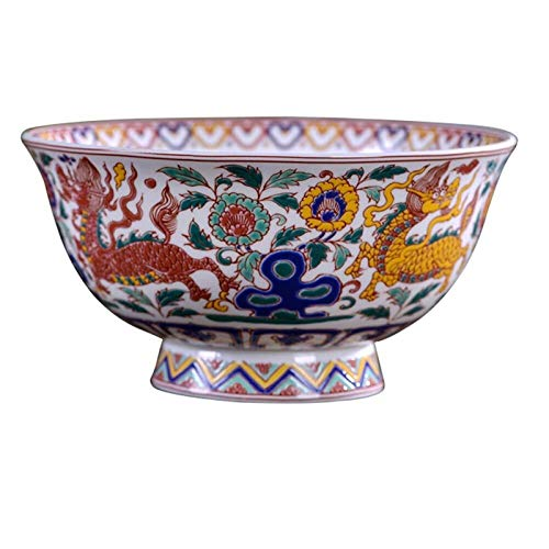 LONGJUAN-C Tazón Plato de Arroz Jingdezhen Porcelana Tradicional Kirin Bone China Plato de Arroz Pequeño Cuenco de Fideos Chinos hogar Antiguo tazón Creativo