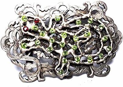 Hebilla para cinturón de 4 cm, diseño geométrico, color plateado antiguo, hebillas de metal o piedras o brillantes o esmaltes o cristales muranos y 1 llavero BSS cc2