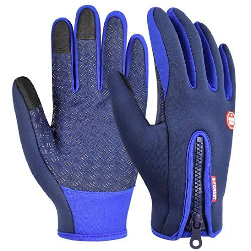 heekpek Guantes de Deportes de Invierno para Hombre Guantes de PU Cálidos con Forro de Lana Gruesa Cremallera Trasera Adicional Guantes de Pantalla Táctil (Azul, XL)