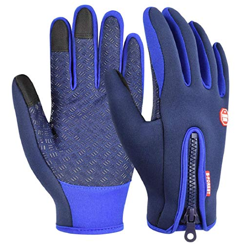 heekpek Guantes de Deportes de Invierno para Hombre Guantes de PU Cálidos con Forro de Lana Gruesa Cremallera Trasera Adicional Guantes de Pantalla Táctil (Azul, M)