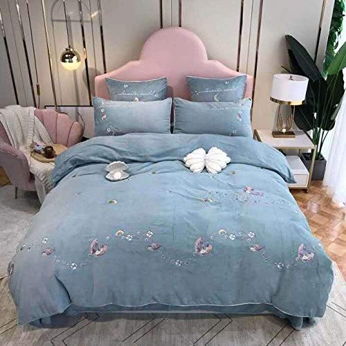 Shinon duvet cover set king size-Autumn and winter thick double-sided plus velvet sheet duvet cover flannel reversible Christmas family hotel bedding-BB_2.0m bed (4 pieces)