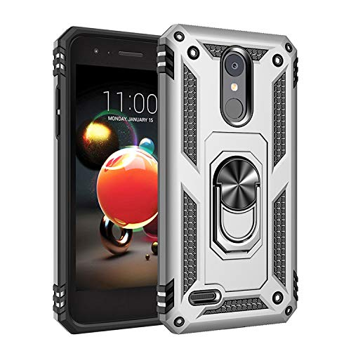 for LG K8 2018 Case,360 Degree Rotating Ring Holder Kickstand Case for LG K Series K9 2018 / K8+ 2018 / LMX210CM Fortune 2 / Aristo 2 LM-X210 / Aristo 2 Plus / Aristo 3 LMX220MA Case Cover Silver