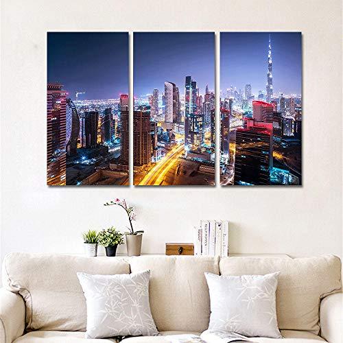 JEfunv 3 Stück Leinwand Bilder Wandkunst Wohnkultur Dubai City Building Nightscape Gemälde HD-Drucke Burj Khalifa Tower Poster-40x80cmx3 ohne Rahmen